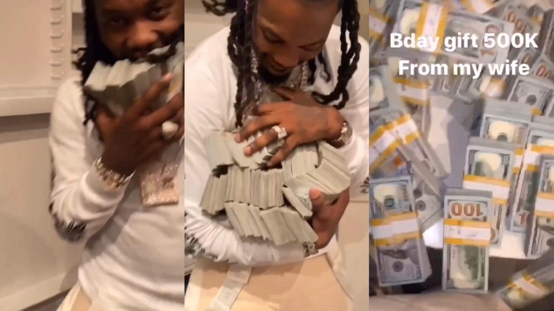 Cardi B geeft Offset half miljoen cash in koelkast als verjaardagscadeau