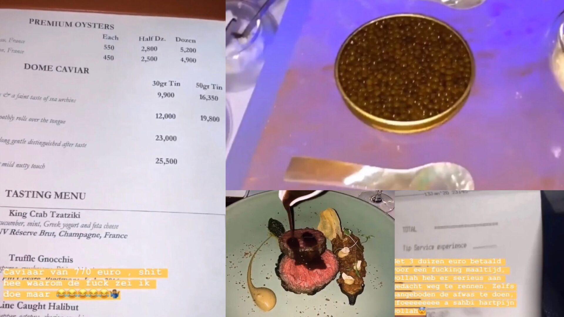 Boef geniet van luxe etentje met kaviaar voor ruim 3000 euro
